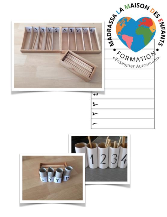 Boite des fuseaux arabe Montessori