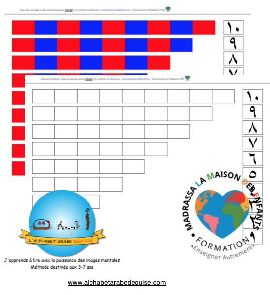 Barres rouges et bleues + chiffres arabe Montessori
