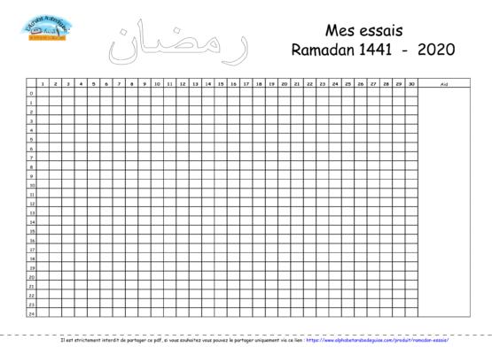 Tableau «mes entraînements jeûne Ramadan »